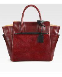 Reed Krakoff Atlantique Mixed Media Colorblock Top Handle Bag - Lyst