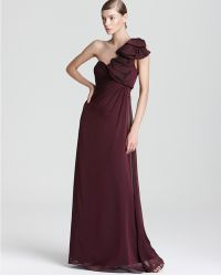 Adrianna Papell One Shoulder Gown Ruffle - Lyst