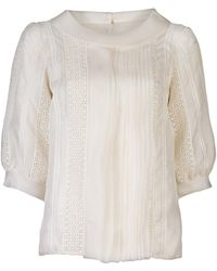 Oscar de la Renta Embroidered Blouse - Lyst