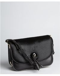 Tom Ford Black Leather And Pony Hair Braided Strap Shoulder Bag black - Lyst