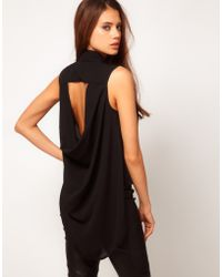 TFNC Sleeveless Drape Open Back Shirt black - Lyst