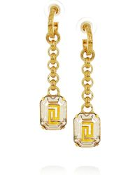 Versace Goldplated Crystal Earrings - Lyst