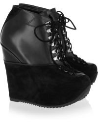 Saint Laurent Leather and Suede Wedge Ankle Boots - Lyst