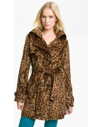 Betsey Johnson Faux Fur Trench Coat - Lyst