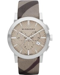 Burberry Womens Swiss Chronograph Smoke Check Fabric Strap 42mm - Lyst