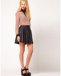 ASOS Collection  Premium Skirt in Pleated Leather - Lyst