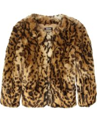 DKNY Animal Print Faux Fur Jacket - Lyst