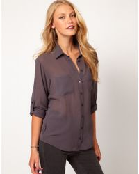 ASOS Collection  Shirt with Roll Back Sleeve - Lyst