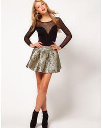 ASOS Collection Asos Mini Skirt in Metallic Jacquard - Lyst