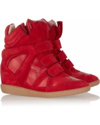 Isabel Marant Bekket Leather and Suede Sneakers - Lyst