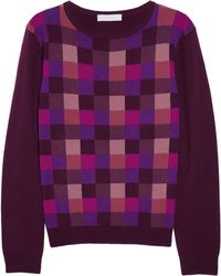 Richard Nicoll - Checkedfront Wool and Cashmereblend Sweater - Lyst