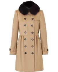 Burberry Camel Cashmere Wool Coat with A Removable Fur Collar - Lyst