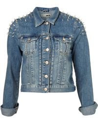 Moto Moto Shoulder Spike Denim Jacket - Lyst