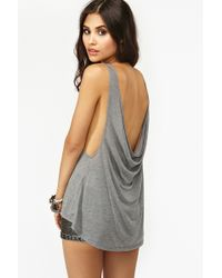 Nasty Gal Double Scoop Tank Gray - Lyst