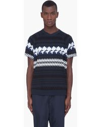 3.1 Phillip Lim Navy Raw Cut French Terry Tshirt - Lyst