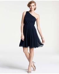 Ann Taylor Silk Georgette Pleated One Shoulder Bridesmaid Dress - Lyst