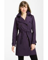 Ellen Tracy Double Breasted Trench with Detachable Hood - Lyst