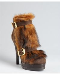 Fendi Brown Leather and Shearling Double Buckle Detail Ankle Boots - Lyst