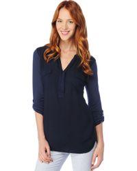 Splendid Navy 3/4 Sleeve Light Jersey T-shirt blue - Lyst