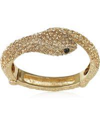 Roberto Cavalli Gold-Plated Swarovski Crystal Snake Bracelet - Lyst