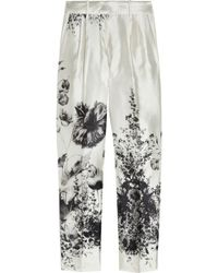 J.Crew Café Floralprint Wool and Silkblend Capri Pants - Lyst