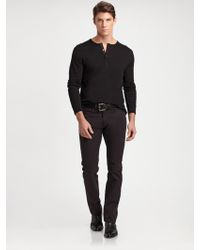 Ralph Lauren Black Label Cotton Ribbed Henley - Lyst