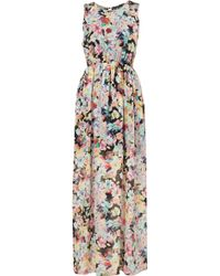 Topshop Floral Print Mesh Back Maxi Dress - Lyst