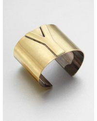 Saint Laurent Signature Logo Bangle Bracelet Gold Tone gold - Lyst