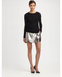 Diane von Furstenberg Melissa Metallic Leather Mini Skirt - Lyst
