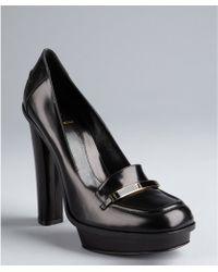 Fendi Black Leather Logo Platform Loafers - Lyst