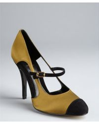 Fendi Olive And Black Silk And Suede Cap Toe Mary Janes - Lyst