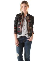 Free People Seamed Embroidered Jacket in Vegan Leather black - Lyst