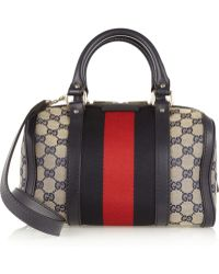 Gucci Vintage Web Gg Canvas Mini Bowling Bag - Lyst