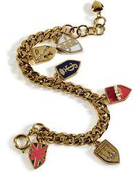 Juicy Couture - Gold Assembled Shield Charm Bracelet - Lyst