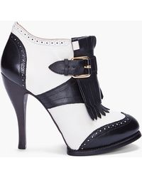 McQ by Alexander McQueen Ivory Black Brogue Pumps - Lyst