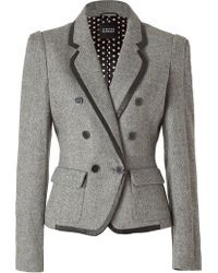 Steffen Schraut Salt and Pepper Blazer with Leather Trim - Lyst