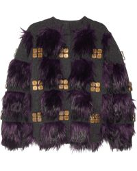 Marc Jacobs Faux Fur and Crystalembellished Stretchwool Cardigan - Lyst