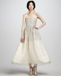 Alice + Olivia Milly Strapless Sequined Ball Gown gold - Lyst