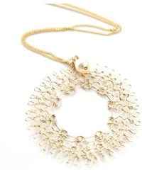 Yoola Dreamcatcher Necklace In Gold With A Pearl - Lyst