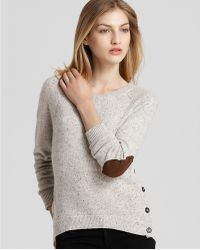 Ash Quotation Autumn Cashmere Sweater High Low with Side Buttons - Lyst