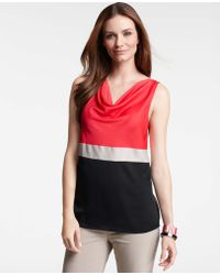 Ann Taylor Petite Color-blocked Cowl Neck Shell - Lyst