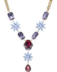 Asos Jewel Flower Necklace purple - Lyst
