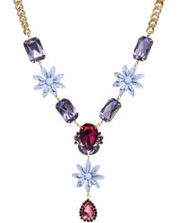Asos Jewel Flower Necklace - Lyst