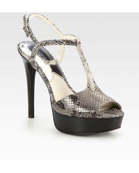 MICHAEL Michael Kors Felicia Snake-skin-embossed Leather T-strap Sandals - Lyst