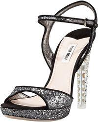 Miu Miu Jewelheel Glitter Platform Sandal - Lyst