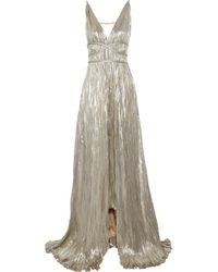 Oscar de la Renta Pleated Lamé Gown silver - Lyst