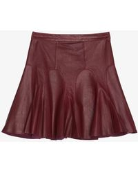 10 Crosby by Derek Lam Preorder Tulip Flared Leather Skirt Bordeaux - Lyst