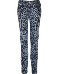 Dolce & Gabbana Printed Low Rise Straight Leg Jeans - Lyst