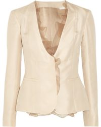 Valentino Ruffle Trimmed Silktwill Jacket - Lyst
