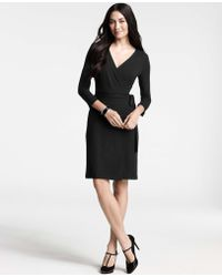 Ann Taylor Three-Quarter Sleeve Jersey Wrap Dress - Lyst